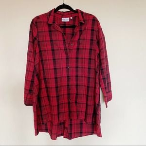 Habitat | Red Plaid Flowy Oversized Button Sown